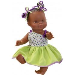 Boneca negrita em borracha 34cm com tranças 04046