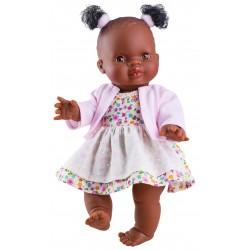 Boneca 34cm negrita em borracha e tranças 04065