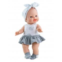 Boneca careca 34cm em borracha perfumada com saia 04078