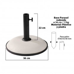 Base chapéu redonda branco d36cm 11kg 15148