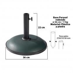 Base chapéu redonda verde d36cm 11kg 15149