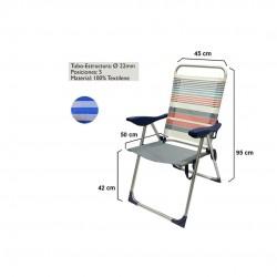 Cadeira alumínio alta c\5 posições 15305