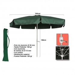 Chapéu alumínio c\manivela 3m poliéster verde 15823
