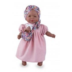 Boneca 45cm africana c\ bebe e trajes típicos 2000