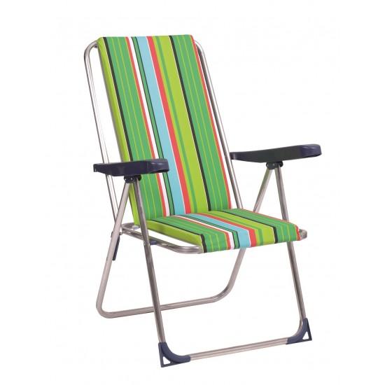 Cadeira alta de alumínio c\posições almofada 90x64x25cm  365al