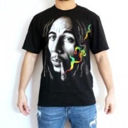 T-shirt preta em algodão do Bob Marley do s-xxl apcam3888n