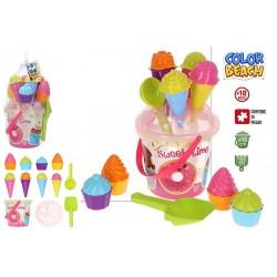 Balde praia c\acessórios bolo e cupcakes 18x20cm 49265