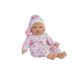 Boneca 40cm careca com mecanismo e chucha com roupa rosa 5071
