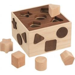 Caixa madeira encaixe 5 figuras geometricas 16,5 x 16,5 x 10 cm 58566