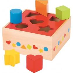 Caixa madeira encaixe 5 figuras coloridas 16x16x7 cm 58580
