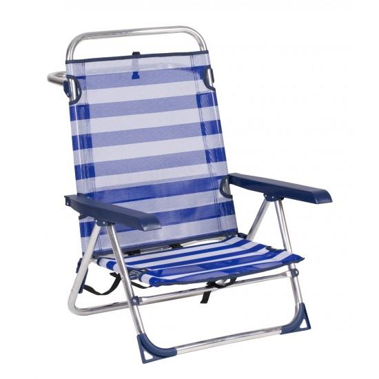 Cadeira areia alumínio c\posições mochila 72*60*18cm  606alfbh