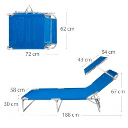 Espreguiçadeira alumínio c\pala e posições 188*58*65cm 62612