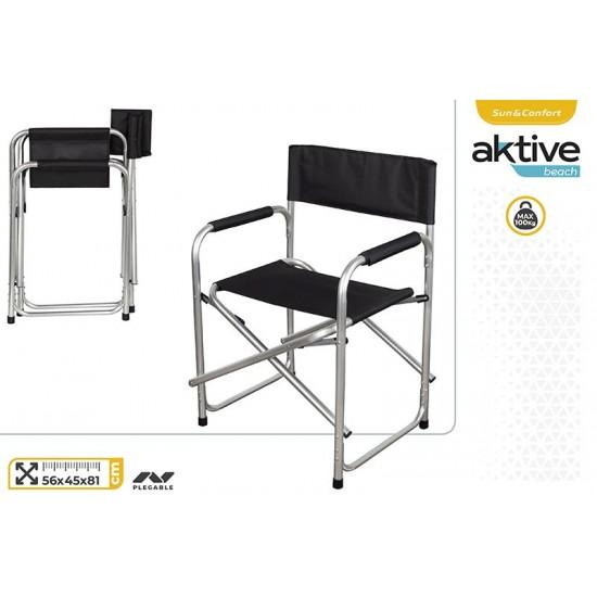 Cadeira em aluminio realizador cor preta 56*45*81cm 62617