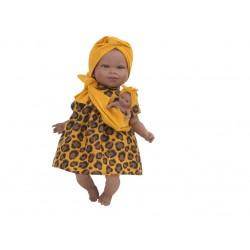 Boneca 45cm africana com bebé e mecanismo 6311
