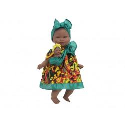 Boneca 45cm africana com bebé e mecanismo 6321