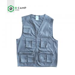 Colete c\bolsos e fecho em sarja 65% poli 35% algodão azul/bege/cinza/preto cl-04