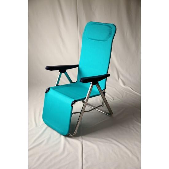 Cadeira alumínio c\almofada e relaxe para os pés 104*65*16 cm 582ALF